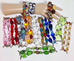 QUALITY BEADED COLORFUL LINK CLIP WOMENS BRACELETS ASSORTED JEWELS COLORS #Unbranded #Beaded