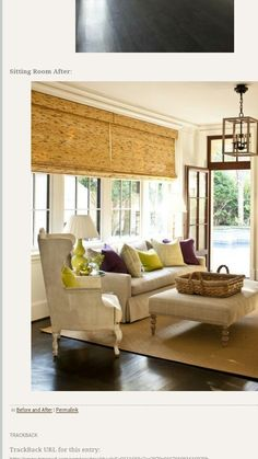 rattan across the width of the living room