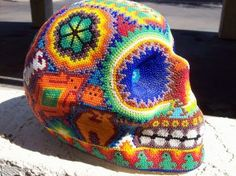 this is a beautiful seedbead beaded skull. it is signed by the artist and was bought in mexico. there are thousands of beads on it. Seed Bead Necklace, Seed Beads, Candy Skulls, Sugar Skulls, Seed Bead Crafts, Colorful Skulls, Beaded Boxes, Beaded Skull, Diy Projects To Try