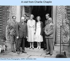 Sole Mitford brother Tom, with the Churchill  family  ( they were cousins through Churchill's wife Clementine) and Charlie Chaplin. Tom was killed during WWII.
