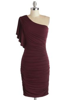Dress in Wine - Red, Solid, Ruching, Party, Bodycon / Bandage, One Shoulder, Good, Mid-length, Jersey, Knit