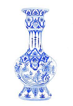 Ming Vase in Indigo Blue NEW print. $25.00, via Etsy.