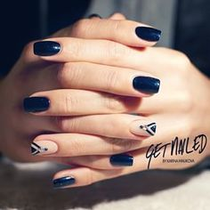 Blue and beige nails