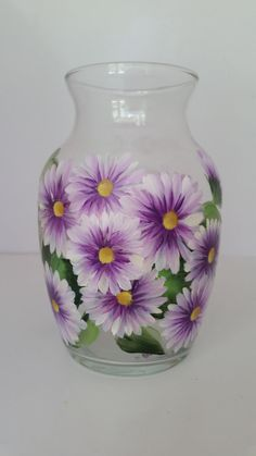 Beautiful Handpainted Glass Vase with Purple & White Flowers - Painted with Glass Enamels Paint by goosecrossingfarm, $17.00  https://www.etsy.com/listing/203371928/beautiful-handpainted-glass-vase-with?