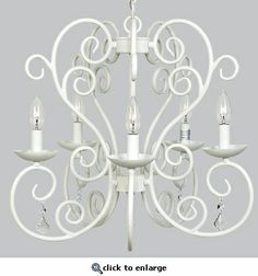 5-Arm Carriage White Chandelier