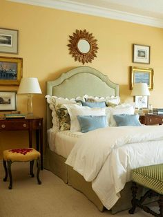 Sunny Yellow Bedroom Mellow yellow walls create a restful, traditional guest room. Classic white trim adds polish to the scheme, while gree. Guest Bedroom Decor, Bedroom Interior, Luxurious Bedrooms, Guest Bedroom Design, Yellow Bedroom, Guest Bedrooms, Yellow Bedroom Walls, Bedroom Color Schemes, Remodel Bedroom
