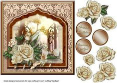 Cream Roses Fancy Frame Card Front on Craftsuprint designed by Mary MacBean - Decoupage vintage look card front with cream roses. There are 3 sentiment tags including a blank one for your own message.  - Now available for download!
