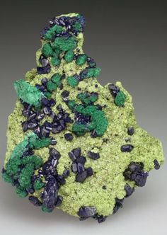 Hidalgoite, Arsentsumebite, Azurite and Malachite after Azurite ~ Tsumeb Mine, Tsumeb, Otjikoto Region, Namibia