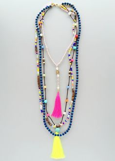 Amour Neon Tassels Necklace – Pree Brulee