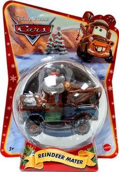 Disney / Pixar CARS Movie 155 Die Cast Figure Exclusive 2011 Christmas Package Reindeer Mater by Mattel Toys. $25.00. Just add ribbon to hang as an ornament!. REINDEER MATER Disney / Pixar Cars 2011 Happy Holidays Series 1:55 Scale Vehicle. Originally released in 2011.. Ages 3 and up. From Mattel.. 1:55 Scale Die Cast Vehicle - Vehicle Measures Approximately 3 Inches Long. These diecast cars are smokin hot!Collect your favorites from the cast of CARS with these appro...