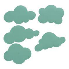 Muurstickers wolken in mintgroen mint wolk wolkje stickers decoratie kinderkamer babykamer muur
