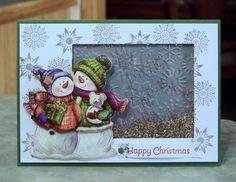3D Snowmen Christmas Shaker Card by WhimsyArtCards on Etsy, $5.00