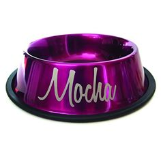 16oz Personalized Dog Bowl with Name Design Metallic Magenta *** Read more  at the image link.