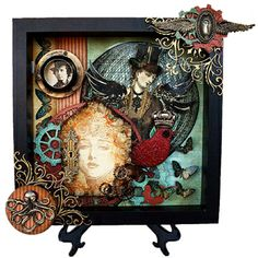 Shadow box - Jack & Cat Curio - Includes Leaky Shed Studio ornate corner, gears, tag and bird.