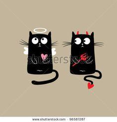 Funny Cats. Vector illustration - stock vector