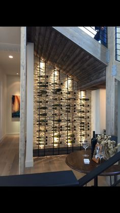 Kitchen Home Wine Rack Wall.VintageView Wine Storage And Display Systems. Corner Wine Rack Wine Cellar Transitional With None . Home and Family Cave A Vin Design, Unique Wine Racks, Home Wine Cellars, Wine Cellar Design, Glass Wine Cellar, Floating Shelves Kitchen, Wine Shelves, Kitchen Shelves, Glass Shelves
