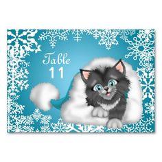 Christmas Kitty Table number card Table Card