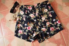 Floral High Waist Shorts  Black with Rose  Summer by Amordress