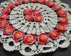 Toalha Redonda de Rosas 35cm