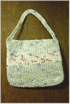Crochet bags made from  plastic grocery bags (plarn)  fabric stripes (old t shirts)