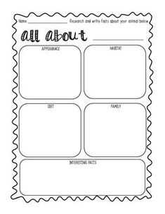 This Sheet Would Be Great To Support An Animal Non Fiction Unit. Students  Can