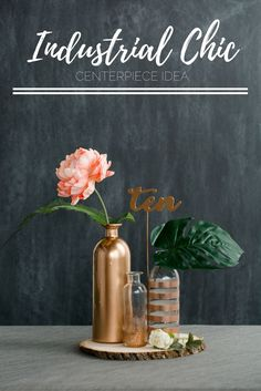 Get your Industrial Chic centerpieces done for your wedding in no time flat. Simple crafting techniques and supplies makes this Industrial Chic wedding centerpiece an easy 10 on the do-ability scale and without a huge impact to your budget! Get the tutorial on our blog.