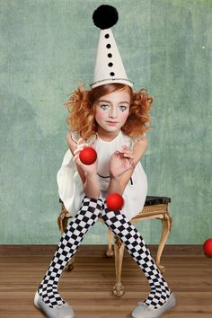 Léa P in Puppet Pierrot for Little Revolution magazine by Wanda Kujacz - dress Marie Chantal