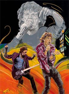 The Famous Flames - Rip This Joint – 2011 - The Ronnie Wood Collection - Art - Castle Galleries Ronnie Wood Art, Mick Jagger Rolling Stones, El Rock And Roll, Ron Woods, Draw On Photos, Keith Richards, Stone Art, Art Music, Rock Art