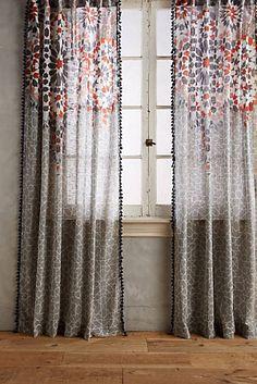 Taye Curtain: Anthropologie, screen=printed cotton slub Moorish design