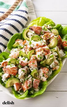 Avocado Lobster Salad Is All We Want To Eat This Summer - Seafood Recipes Lobster Recipes, Fish Recipes, Great Recipes, Favorite Recipes, Recipe Ideas, Octopus Recipes, Shrimp Salad Recipes, Summer Recipes, Healthy Snacks
