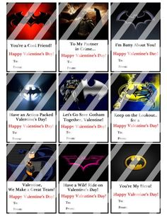 Batman Printable Digital Personalized Valentines Day Cards #1