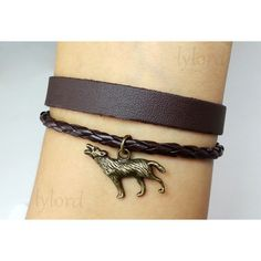 Wolf Charm Bracelet / Persomalized Leather Bracelet ($3.99) ❤ liked on Polyvore featuring jewelry, bracelets, leather cord bracelet, leather cord jewelry, leather jewelry, bracelet bangle and cord bracelet