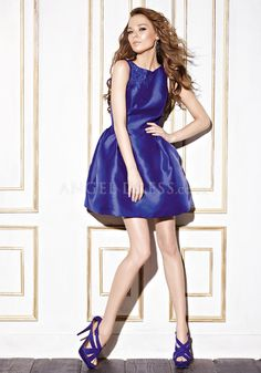 Bateau Baby Doll Natural Waist Taffeta Above Knee Prom Evening Dress With Bowknot
