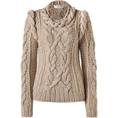 PRINGLE OF SCOTLAND Oatmeal Cashmere Pullover ($790) ❤ liked on Polyvore featuring tops, sweaters, shirts, jumper, long sleeve shirts, crew neck sweaters, brown cashmere sweater, cable knit sweater and brown shirt
