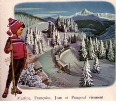 Martine à la montagne Doll Costume, Wooden Dolls, Winter Fun, Vintage Holiday, Illustrations, Holiday Cards, Images, Tapestry, In This Moment