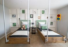 Industrial Charm in an Indianapolis Boy's Bedroom For wall of shelves