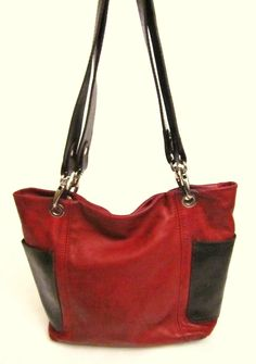 Starting tomorrow $0.99-    CRISTINA Red Brown Leather Handbag Tote Purse Bag Hobo ITALY Italian Satchel | eBay