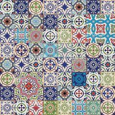 Mega sem costura padrão de colcha de retalhos. Colorido do Marrocos, azulejos…