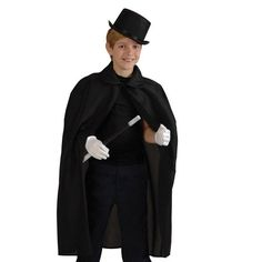 Child's Black Cape - Halloween Magician or Vampire Costume | Party Supply Store | Novelty Toys | Carnival Supplies | USToy.com