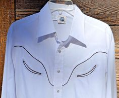 VTG Mens Kennington White Shirt Smiley Pockets Pearl Snaps Large Cowboy Western #Kennington #Western