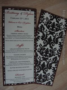 Black & Red Custom Double Sided Damask Wedding Menu,  Visit http://www.weddingsnwhimsy.com for ordering details!