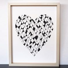 Hearts don't always have to be red or pink, right? Screen printed with eco-friendly water based ink on post-consumer recycled paper, @Atomic_Blossom hand makes posters, cards & organic baby onesies & tshirts for children right out of San Francisco, Califo