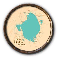 Lake Okeechobee Florida, Barrel End Map Art - 21 x 21 inches / Turquoise