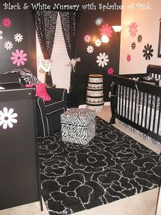 Black and white nursery with a splash of pink (easy to change to red)