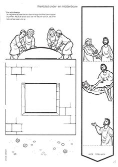 Matthew 9:1-8; Mark 2: 1-12; Luke 5: 17-26: Four Friends Helped; Jesus Healed a Paralyzed Man Slider Craft (Instructions are not in English, but picture seems self-explanatory.)