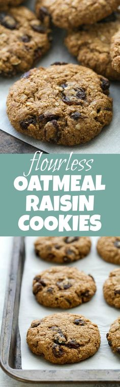Flourless oatmeal raisin cookies that are soft, chewy, and super easy to make. They're comforting health food at its finest! Gluten Free Sweets, Gluten Free Cookies, Healthy Cookies, Gluten Free Baking, Healthy Baking, Healthy Bars, Healthy Snacks, Baking Recipes, Cookie Recipes