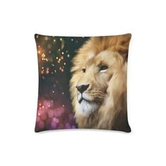 Lion throw pillow, lion cushion, lion decor, lion decorative cushion, animal pillow, animal cushion, lion gifts, lion bedding by Traceyleeartdesigns on Etsy Animal Cushions, Decorative Cushions, Art Designs, Lion, Bedding, Throw Pillows, Handmade Gifts, Artist, Animals