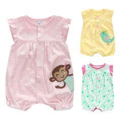 R  42.04  Macacão de bebê de Verão Do Bebê Meninas Dos Desenhos Animados  Roupa Do Bebê Recém nascido Roupas Roupas Bebe Roupas Macacões Infantis de  Manga ... b28a3245a1