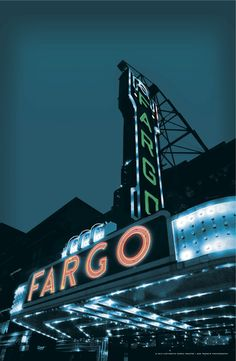 Fargo, ND - The marquee of Fargo Theatre, a restored 1926 Art Deco spot, announces its independent films, concerts and other live events. Come early on Saturdays to hear the Wurlitzer organ.