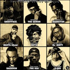 The digital biography of hip hop band Wu-Tang Clan from Shaolin - from Hip Hop Scriptures virtual Hip Hop Museum! Hip Hop And R&b, Love N Hip Hop, Hip Hop Rap, Hip Hop Artists, Music Artists, Rap Music, Good Music, Music Pics, Music Videos